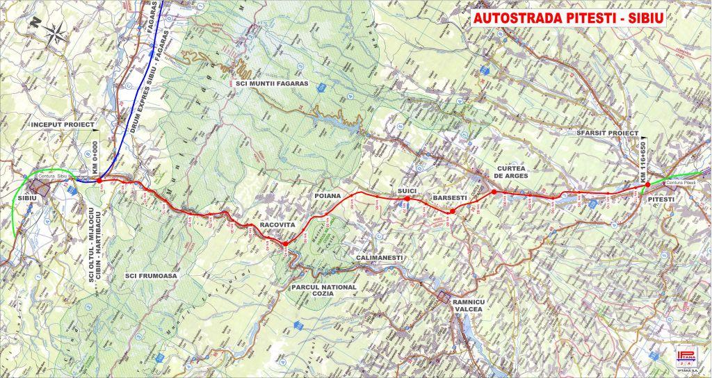 Planul autostrăzii Sibiu-Pitești