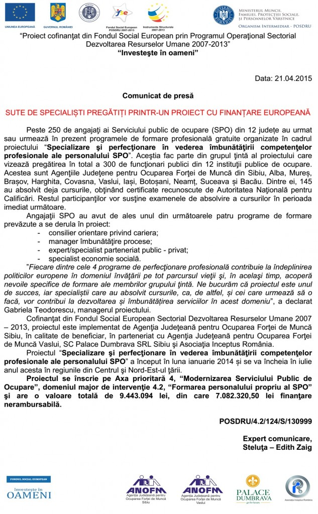 """Comunicat de presă: """"Sute de specialiști pregătiți printr-un proiect cu finanțare europeană"""""""