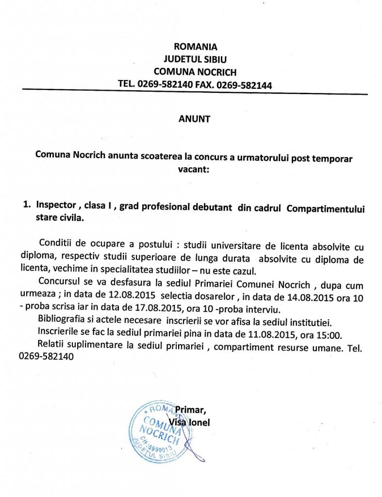 ANUNȚ – Primăria comunei Nocrich (P)