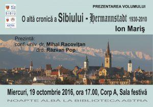O altă cronică a Sibiului – Hermannstadt, la Biblioteca Astra
