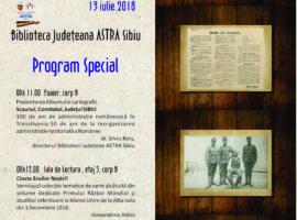 """Eveniment aniversar """"Județul Sibiu în anul Centenarului"""" la Biblioteca Județeană ASTRA Sibiu"""