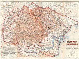 LA ROUMANIE ET LES PROVINCES ROUMAINES. LES PRINCIPALES FRONTIÉRES HISTORIQUES DES PROVINCES ROUMAINES ET L'ADMINISTRATION POLITIQUE, CHEMINS DE FER, NAVIGATION, EN 1919 PAR Le Prof. A. D. ATANASIU. PARIS 1919. ÉCHELLE 1:1.000.000. Imp. Dufrénoy, Paris. Biblioteca Județeană ASTRA Sibiu. Colecții speciale. Cartografie. Nr. inv. 156