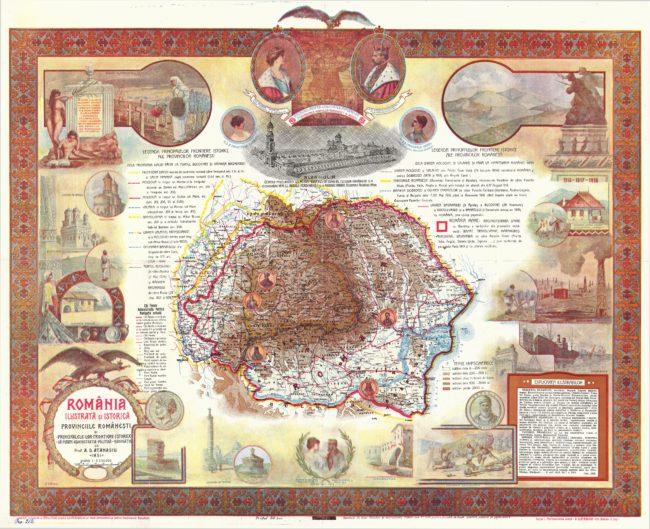 ROMÂNIA ILUSTRATĂ ȘI ISTORICĂ - PROVINCIILE ROMÂNEȘTI ȘI PRINCIPALELE LOR FRONTIERE ISTORICE - CĂI FERATE - ADMINISTRAȚIA POLITICĂ - NAVIGAȚIE, de prof. A. D. ATANASIU, IAȘI. Scara 1:2.230.000. Hartă întocmită în 1919 la Paris, clișeele ilustrațiunilor la Viena, imprimarea la Cartea Românească, București. Aprobată de Onor. Minister al Instrucțiunei Publice sub No 1352 pentru Școalele de toate gradele publice și particulare. Ediția I. Biblioteca Județeană ASTRA Sibiu. Colecții speciale. Cartografie. Nr. inv. 212