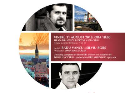Dialog Radu Vancu și Silviu Borș, pe terasa Bibliotecii Județene ASTRA, de Ziua Limbii Române