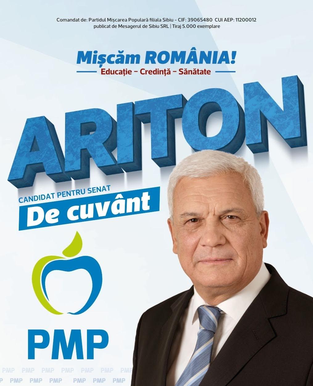 """Ion Ariton: """"România are nevoie de schimbări majore, iar românii merită mai mult!"""" (P.E.)"""