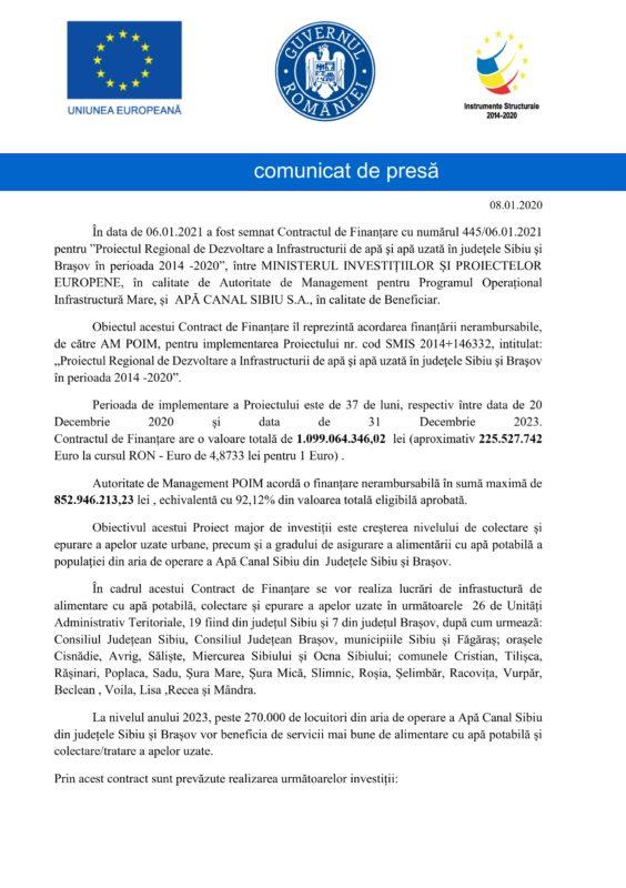 (P) COMUNICAT DE PRESĂ | Proiectul Regional de Dezvoltare a Infrastructurii de apă şi apă uzată în judeţele Sibiu şi Braşov în perioada 2014 -2020