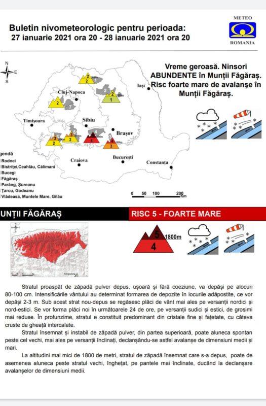 Pericol iminent de avalanșe în Munții Făgăraș