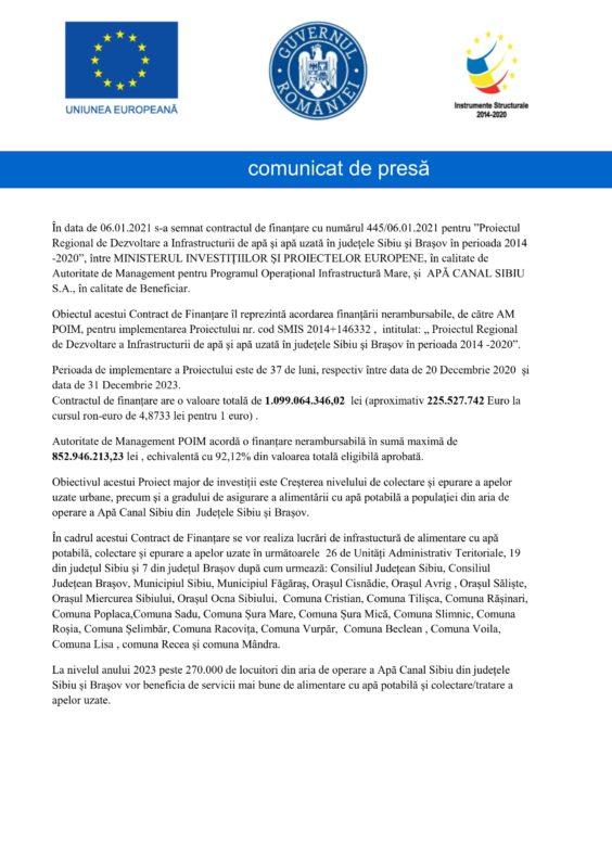Comunicat de presă SC Apă Canal SA Sibiu (P)