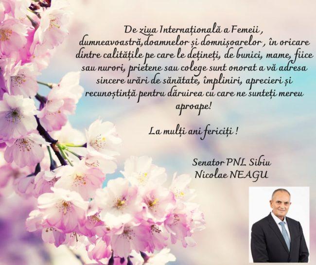Mesajul senatorului Nicolae Neagu cu ocazia zilei de 8 Martie