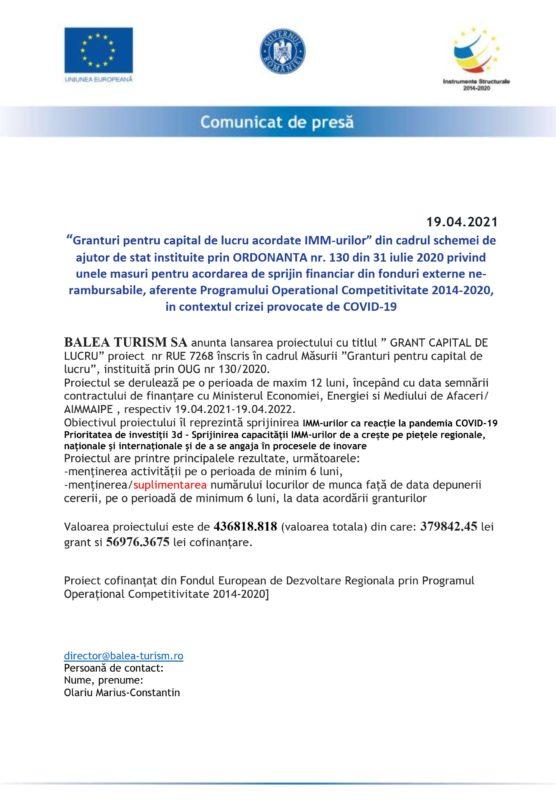 """BALEA TURISM SA anunta lansarea proiectului cu titlul """"GRANT CAPITAL DE LUCRU"""" (P)"""